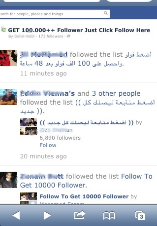 A screenshot showing number of Fake interest lists.