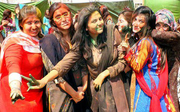 Hindu and Muslim Students celebrating Holi in Pakistan